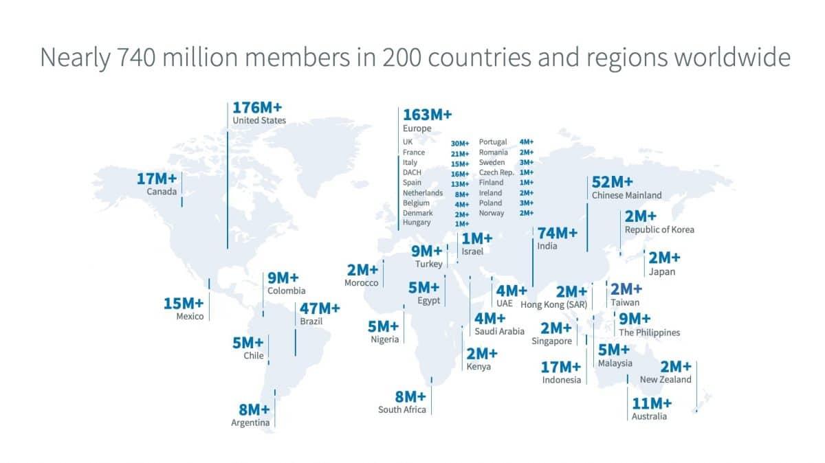 Carte Linkedin Monde