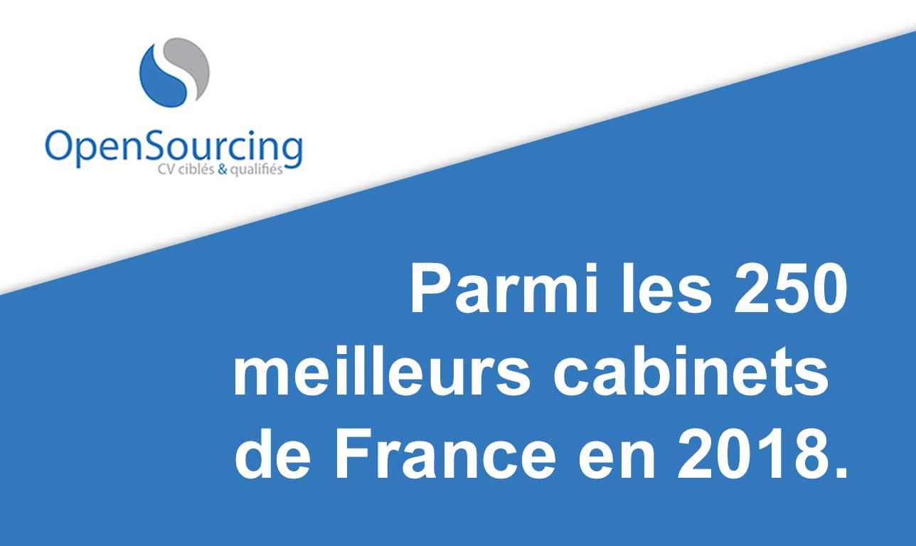 OpenSourcing parmi les 250 meilleurs cabinets de recrutement de France